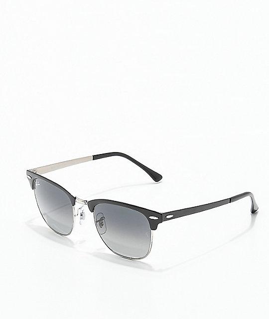 fe4fada9ca24 Ray-Ban Clubmaster Metal Grey Gradient Black Sunglasses | Zumiez