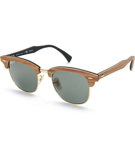 Ray Clubmaster Sunglasses Wood Ban Polarized 7gf6by