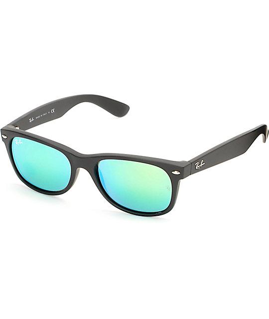 9cc3ac637 Ray-Ban New Wayfarer Black Rubber Green Mirror Sunglasses   Zumiez