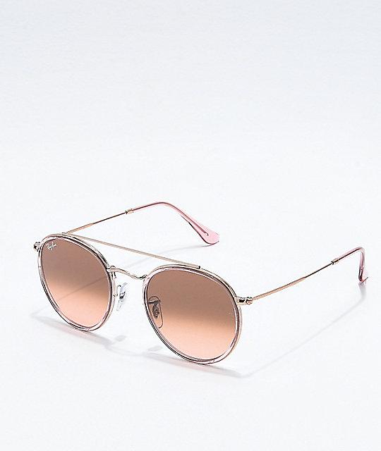dfaeae2eab6f Ray-Ban Round Double Bridge Copper Gradient Sunglasses | Zumiez