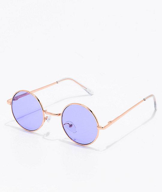 c81177ae196 Rose Gold   Purple Round Sunglasses ...