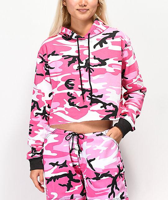 48754401195 Rothco Pink Camo Crop Hoodie | Zumiez