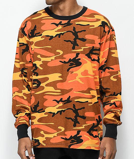98ced1e4d980 Rothco Savage Orange Camo Long Sleeve T-Shirt | Zumiez