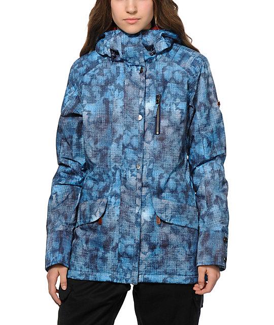 0361cd8b7c9 Roxy Andie Blue Textured Print 10K Snowboard Jacket