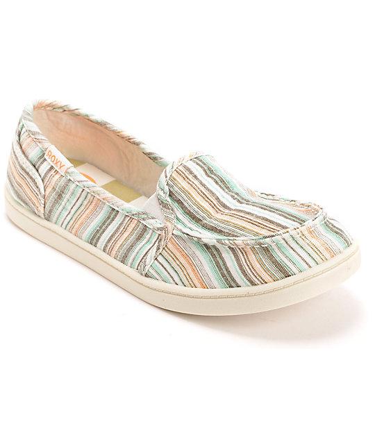 4fc1811fb79fcb Roxy Lido II Beige & Blue Slip On Shoes   Zumiez