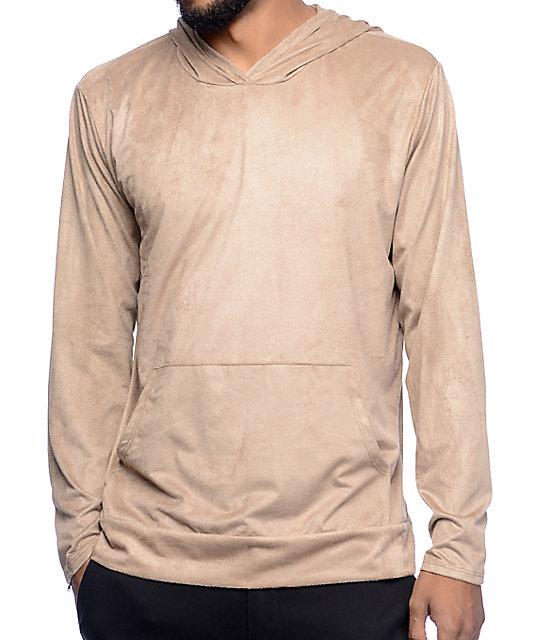 b27430817f Rustic Dime Khaki Suede Hooded Long Sleeve T-Shirt