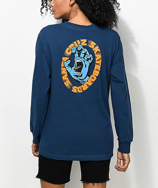 2d23e551 Santa Cruz Screaming Hand Blue Long Sleeve T-Shirt | Zumiez