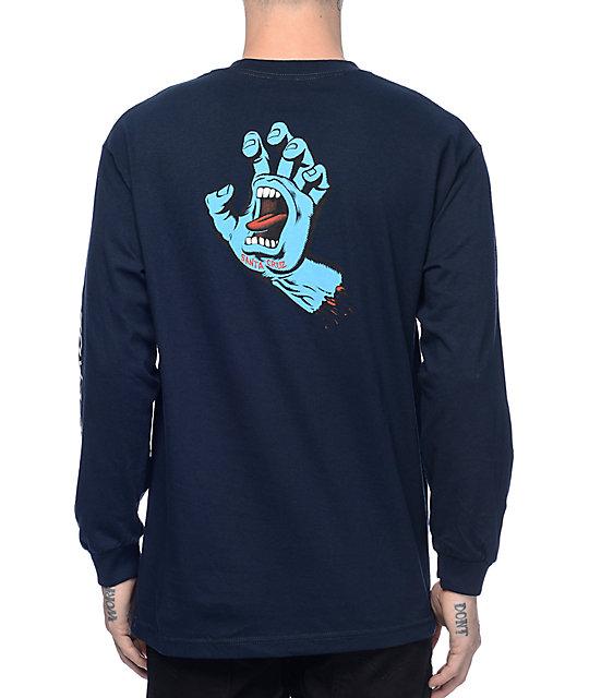 17180784 Santa Cruz Screaming Hand Navy Long Sleeve T-Shirt | Zumiez