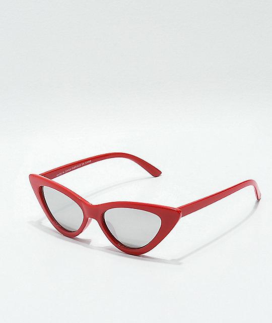 a7faae751c Sheena gafas de sol estilo ojo de gato de espejo rojo y plateado ...