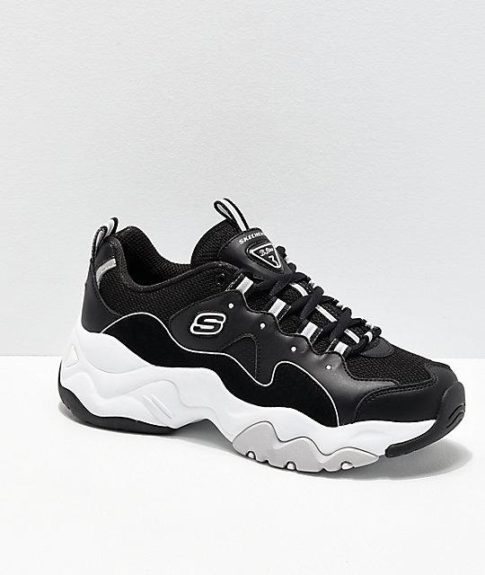 6fd008bfe2792 Skechers D Lites 3.0 Wavy Suede Black   White Shoes