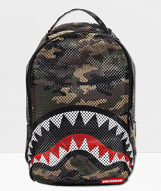 Bape Shark Backpack >> Sprayground Shark Camo Mesh Backpack Zumiez