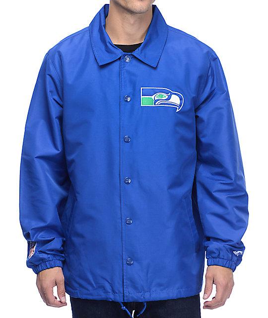 buy popular b1f74 62dbe Starter Seahawks Royal Blue Coaches Jacket