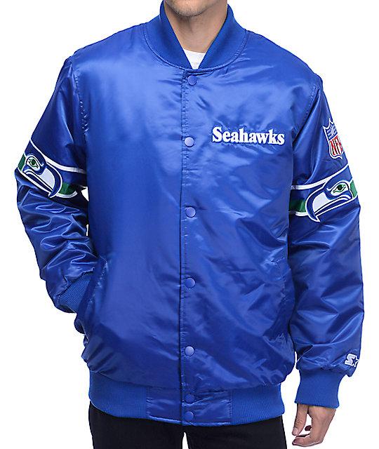 reputable site 1954d 3be25 Starter Seahawks Satin Royal Blue Jacket