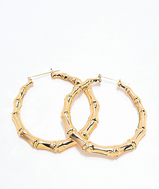 Stone Locket Bamboo Gold Hoop Earrings