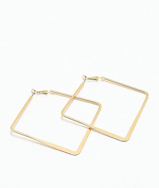 Stone Locket Gold Square Hoop Earrings