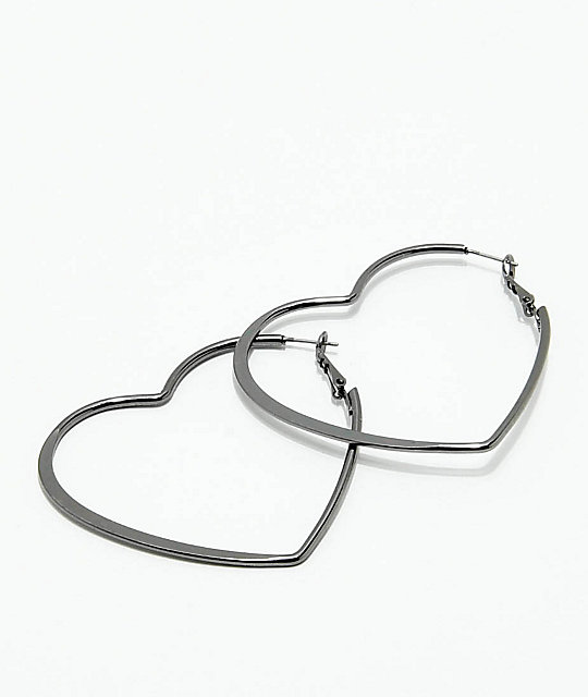 Stone Locket Gunmetal Heart Hoop Earrings