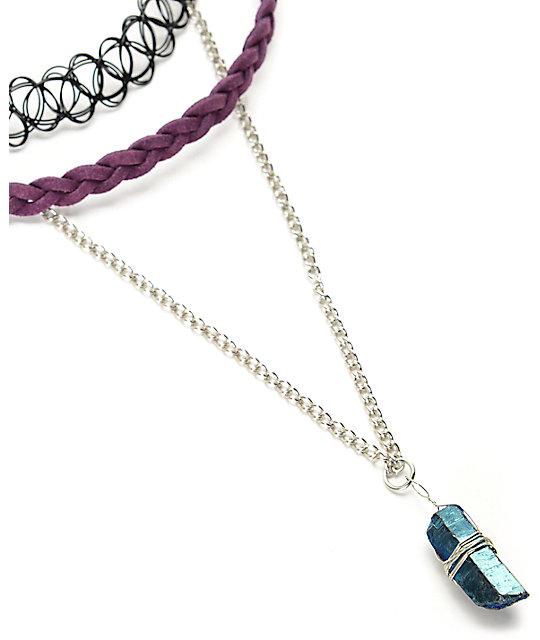 992ac1afd2bb perfect stone locket conjunto de collares cuero trenzado colgante cristal  gargantilla extra grande with collares de cuero