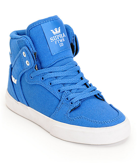 new arrival e2b3c 917c9 Supra Kids Vaider Royal Blue Canvas High Top Skate Shoes ...