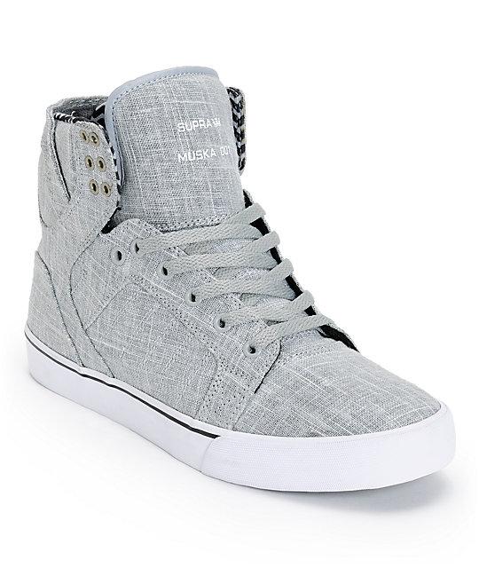 half off 77d55 b6e50 Supra Skytop Grey Linen   White Canvas Skate Shoes ...