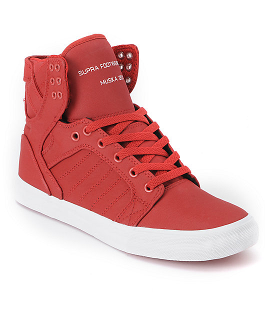 best service 3176c a9b38 Supra Skytop Red Express Tuf Canvas Skate Shoes ...