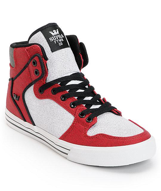 507517e0 Supra Vaider Red, White & Black Canvas Skate Shoes   Zumiez