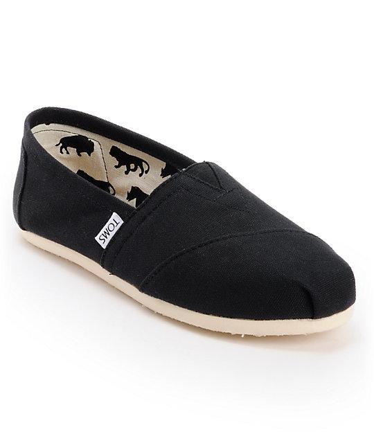 a1f5cf3ad1cab3 TOMS Classics Canvas Black Slip-On Womens Shoes | Zumiez