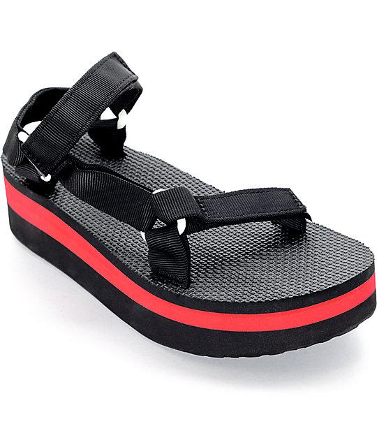 9f5d7c920 Teva Flatform Universal Black & Red Sandal   Zumiez