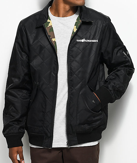 f0b9212524fede The Hundreds Tanner Black & Camo Reversible Bomber Jacket | Zumiez