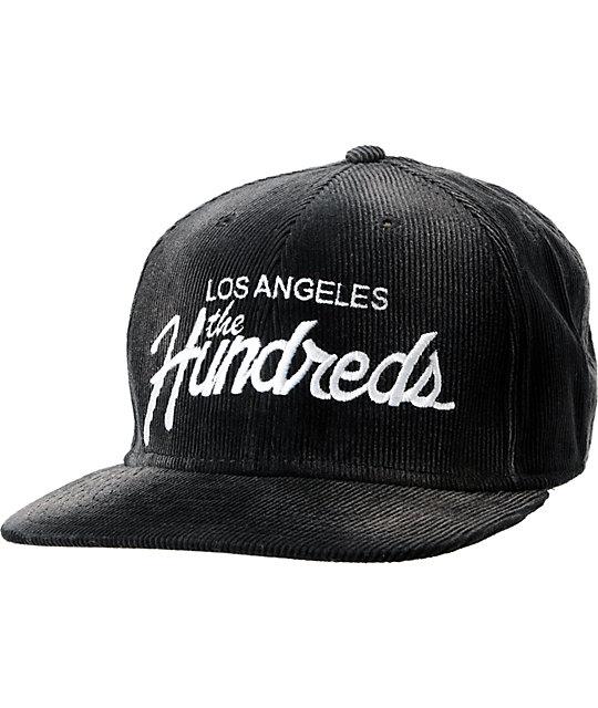 eecdd33cd13632 The Hundreds Team Black Corduroy Snapback Hat | Zumiez