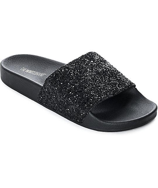 TheWhiteBrand Black Glitter Slide Women s Sandals  9f1dc57cb