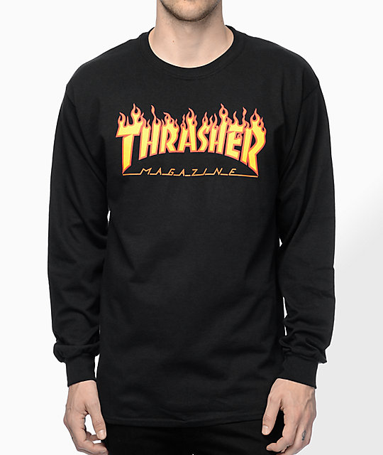 7f1b63e92dd8 Thrasher Flame Logo Black Long Sleeve T-Shirt | Zumiez