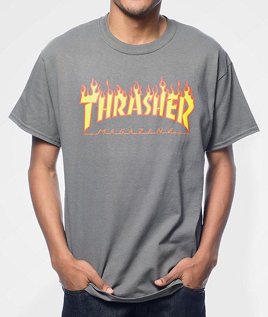 76d3255942e9 Thrasher Flame Logo Charcoal T-Shirt | Zumiez