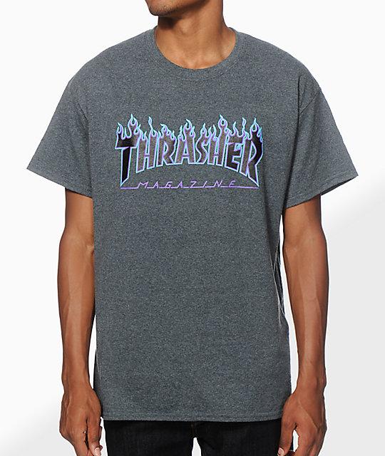 0d8b55fa6446 Thrasher Flame Logo Purp T-Shirt   Zumiez