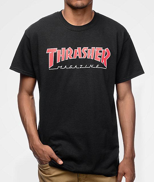 c1f8aef86e19 Thrasher Magazine Outlined Black T-Shirt | Zumiez