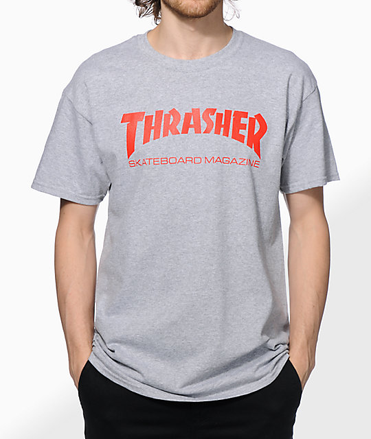 51836dc1bd1b Thrasher Skate Mag Grey & Red T-Shirt | Zumiez
