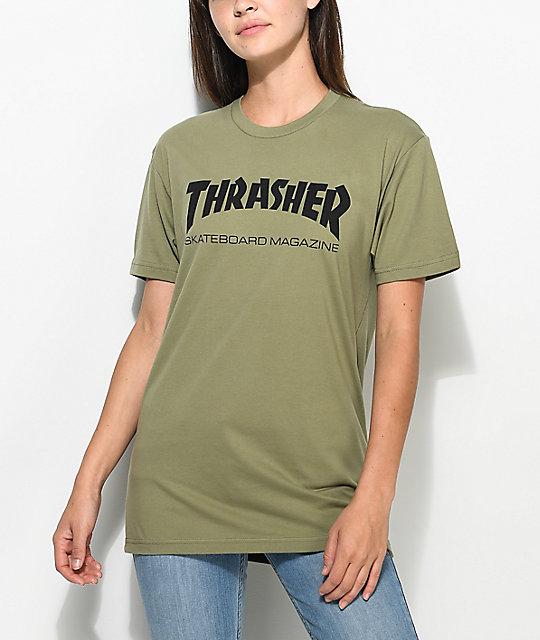 11652c28e320 Thrasher Skate Mag Olive Boyfriend Fit T-Shirt | Zumiez