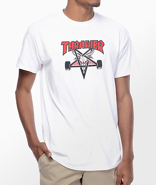 5f3dbee55bd6 Thrasher Two Tone Skategoat White T-Shirt | Zumiez