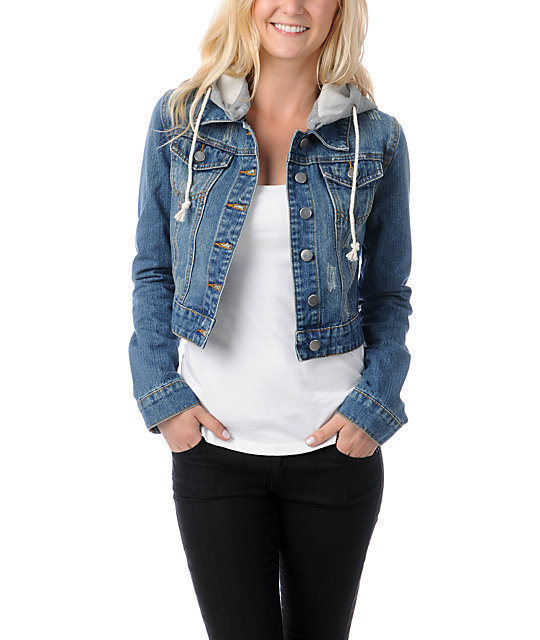 8fe071693ee Thread and Supply Cropped Hooded Jean Jacket | Zumiez