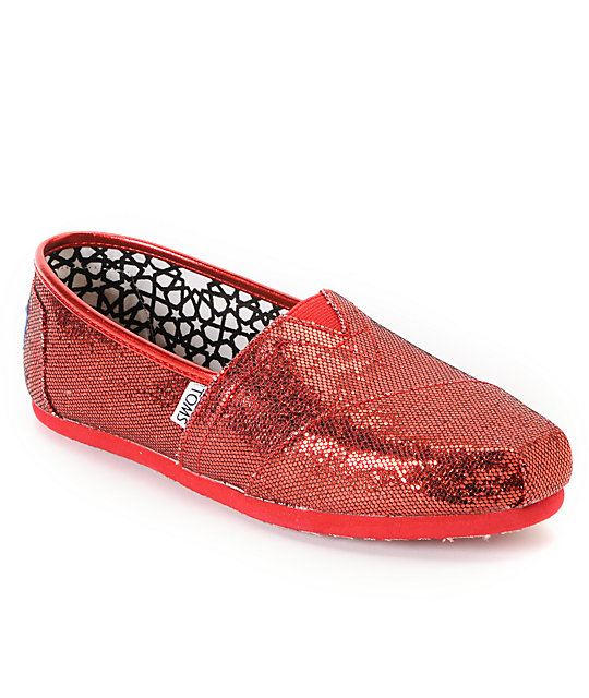 62fdf8e44ddb Toms Classics Red Glitter Womens Shoes | Zumiez