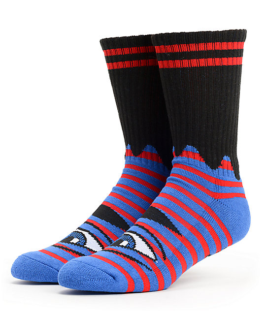 8dd38b21106f5 Toy Machine Sect Eye Blue Striped Crew Socks | Zumiez