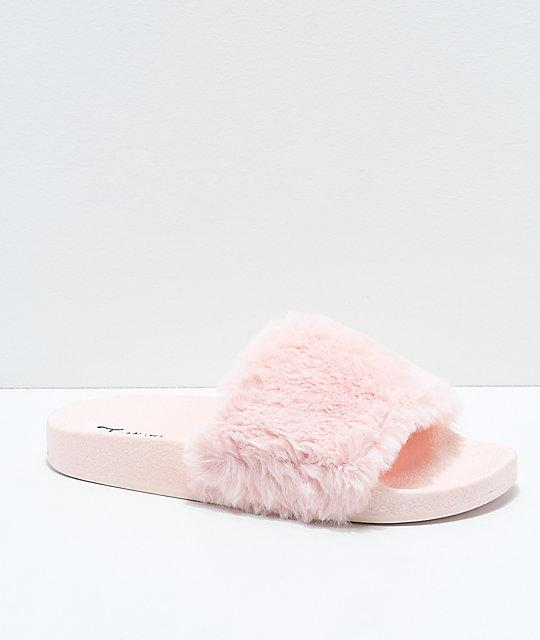 wholesale dealer c864b 39669 Trillium Pink Fur Slide Sandals