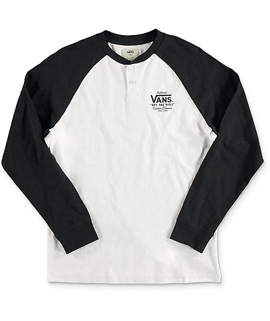9fa50ca5aadd Vans Boys Denton White & Black Long Sleeve T-Shirt | Zumiez