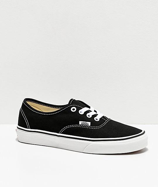 ddc07e2ab40e8f Vans Authentic Black and White Canvas Skate Shoes