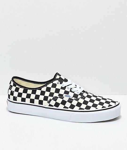 info for c51d5 68673 Vans Authentic Golden Coast   Black Checkered Skate Shoes ...