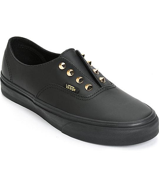 7673901ce96c68 Vans Authentic Gore Stud Black Leather Slip-On Shoes