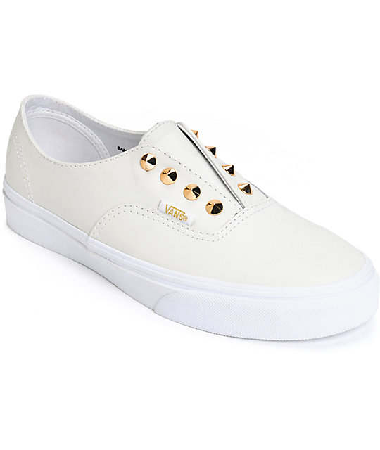 58de15494f Vans Authentic Gore Stud White Leather Slip-On Shoes