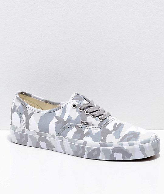 6f780351d841d Vans Authentic Mono Snow Camo Skate Shoes   Zumiez