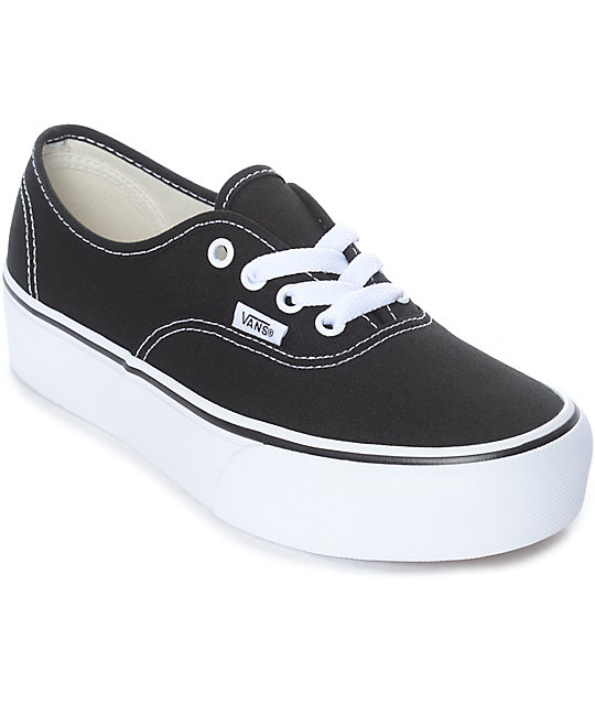 9d86fb447392 Vans Authentic Platform Black   White Skate Shoes