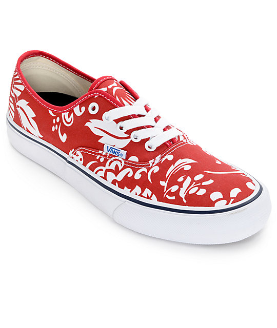 7cb40d9595 Vans Authentic Pro 50th Duke Red and White Skate Shoes