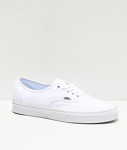 02e104862f Vans Authentic White Canvas Skate Shoes